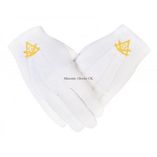 Freemasons Masonic Cotton Gloves with Past Master SC & G in Gold Embroidery