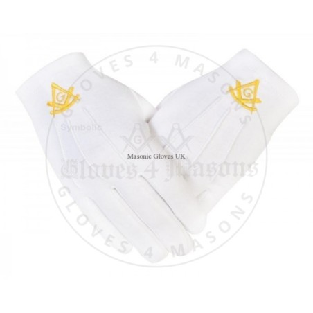 Freemason Masonic Cotton Gloves in Past master Gold