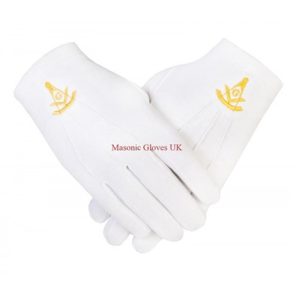 Freemasons Masonic Cotton Gloves with Past Master SC&G in Gold Embroidery (Thin)
