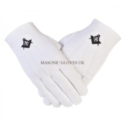 GLOVES4MASON Masonic Cotton Gloves in White with Black S C & G Symbol CPI