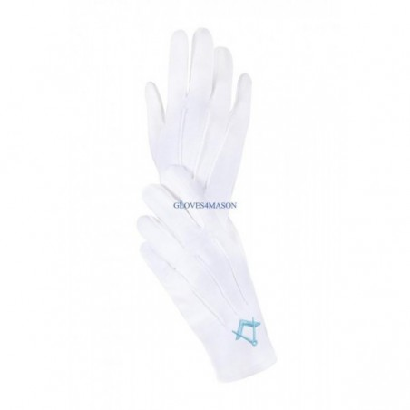 GLOVES4MASON  Freemason Masonic Gloves in Turq Blue Embroidery Sq & C CPI