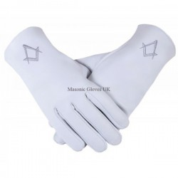 Freemason's Masonic Real Kid Leather Gloves in Silver S & C