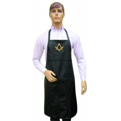 Real Leather Bib style Apron with Masonic Freemasonary Freemasons symbol S&C in Gold