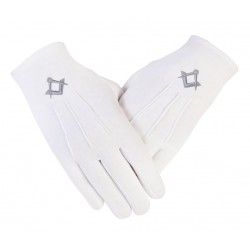 Freemason Masonic Cotton Gloves in Silver S & C CPI