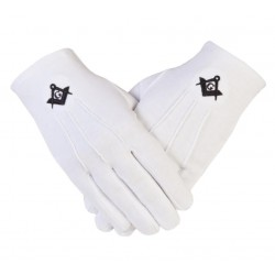 Freemason Masonic Cotton Gloves in Black S C & G CPI