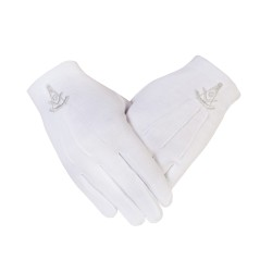 Freemasons Masonic Cotton Gloves with Past Master SC & G in Silver Embroidery