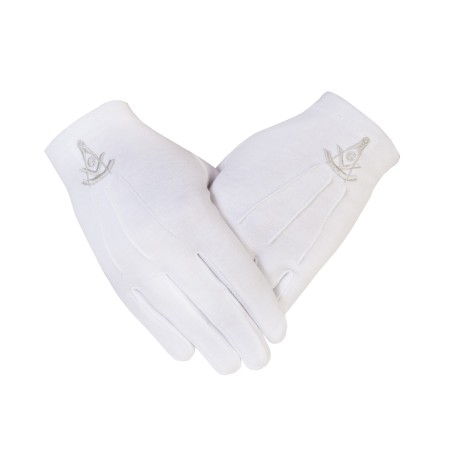 GLOVES4MASONS Masonic Cotton Gloves with Past Master SC & G in Silver Embroidery