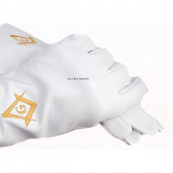 Freemason Masonic Gloves In Real Kid Leather With Gold S C & G