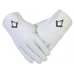 GLOVES4MASON Freemason Masonic Leather Gloves in Black S & C Symbol