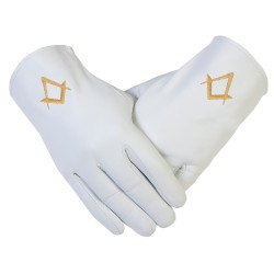 Freemason Masonic Gloves In Real Kid Leather With Gold S + C