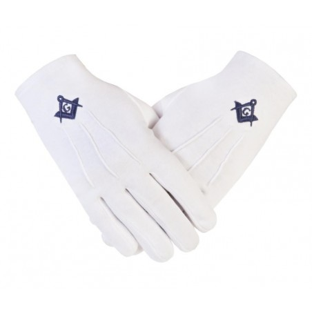 Freemason Masonic Cotton Gloves in Blue S C & G CPI