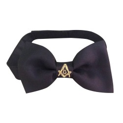 Freemasons Masonic Bow Tie in silk with hand embroidered S&C in Gold bullion thread