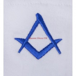 Freemason Masonic Cotton Gloves in White with Blue Embroidery S & C Symbol